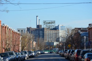 Looking down Clement Street towards Domino Sugar.