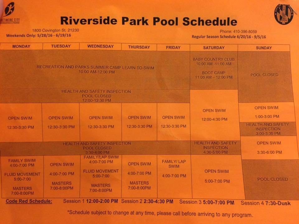 riverside pool schedule